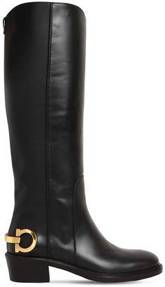 Salvatore Ferragamo 30mm Uda Leather Boots