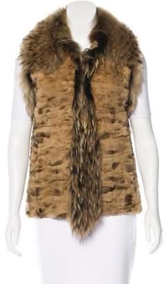 Adrienne Landau Fox-Trimmed Fur Vest Tan Fox-Trimmed Fur Vest