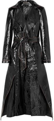 Roland Mouret Marvin Crinkled-leather Trench Coat - Black