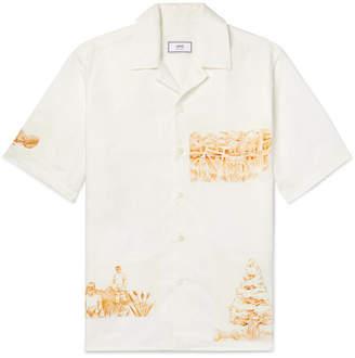 Ami Camp-Collar Appliquéd Cotton, Linen And Ramie-Blend Shirt