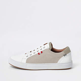 River Island Cream canvas side lace-up sneakers