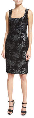 Nanette Lepore Sleeveless Floral Metallic Sheath Dress, Black $378 thestylecure.com