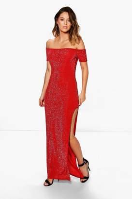 boohoo Metallic Off Shoulder Split Maxi Dress