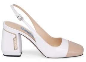 Prada Leather Bicolor Slingback Heels
