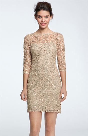 Kay Unger Sequin & Lace Sheath Dress