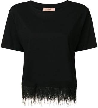 Twin-Set feather trim T-shirt