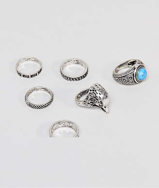 Asos DESIGN Chunky Ring Pack With Eagle And Stones In Burnished Silver