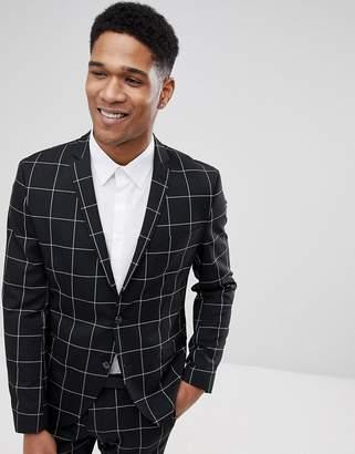 Selected Slim Fit Suit Jacket In Panel Grid