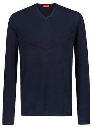 HUGO BOSS Bits & Bytes Capsule V-neck sweater with lustrous jacquard details