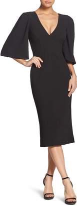 Dress the Population Coco Plunging Crepe Tea Length Dress