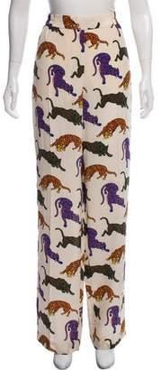 Stella McCartney Christine Wild Cat Silk Pants