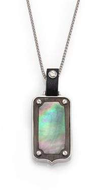 Stephen Webster Plated Sterling Silver& Mother-Of-Pearl Dog Tag Pendant