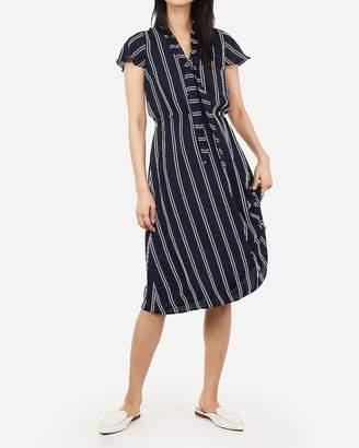 Express Striped Tie Neck Midi Dress