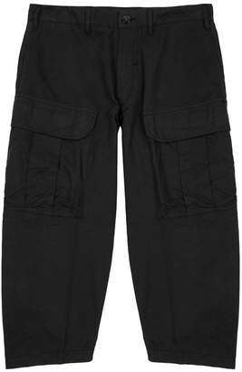 Stone Island Shadow Project Black Cropped Cotton Cargo Trousers