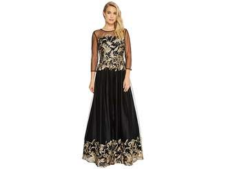 Tahari ASL Embroidered Mesh Ballgown Women's Dress