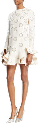 Valentino Long-Sleeve Beaded-Dot Crepe Couture Dress with Ruffle-Hem