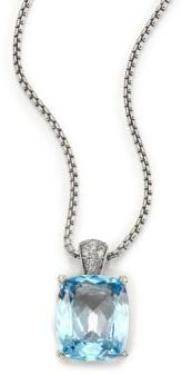 John Hardy Classic Chain Diamond, Blue Topaz & Sterling Silver Pendant Necklace $1,395 thestylecure.com