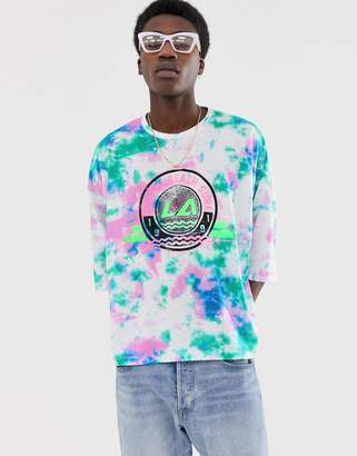 Asos Design DESIGN oversized cropped t-shirt in tie dye with large chest print