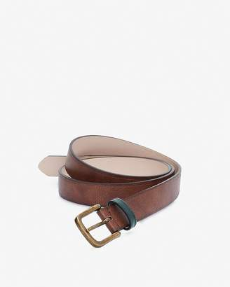 Express Olive Strap Gold Prong Buckle Belt