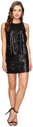 Halston Sleeveless Round Neck Sequined Dress Women's Dress