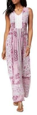Style&Co. Style & Co. Paisley and Crochet V-Neck Sleeveless Maxi Dress