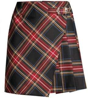 Maje Wrapped Tartan Mini Skirt