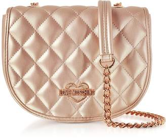 Love Moschino Copper Metallic Quilted Eco-Leather Crossbody Bag
