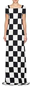 Lisa Perry WOMEN'S CHECKERBOARD-PRINT CREPE GOWN - BLACK/WHITE SIZE 6