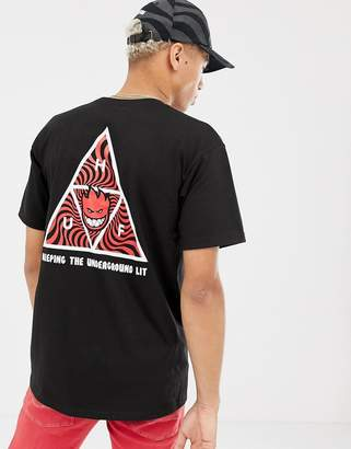 6c5392add HUF x Spitfire T-Shirt With Triple Triangle Back Print In Black