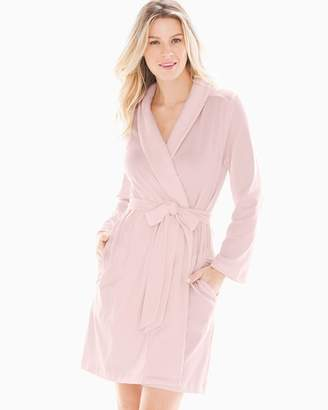 Embraceable Plush Collar Short Robe Vintage Pink