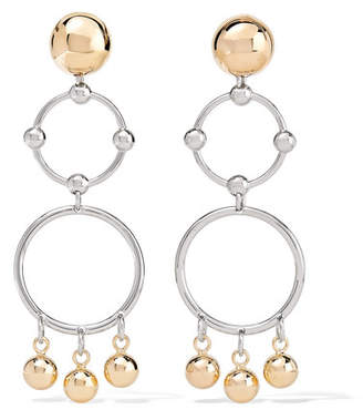 Barbell Chandelier Gold And Silver-plated Earrings - one size