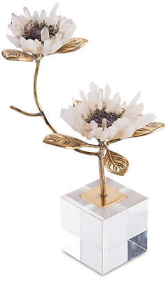 """John-Richard Collection 8"""" Double Crystal Blooms - Brass"""