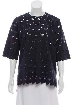 Stella McCartney Heart-Embroidered Short Sleeve Top