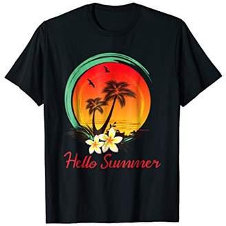 Hello Summer Funny Palm Tree Beach Retro T-Shirt