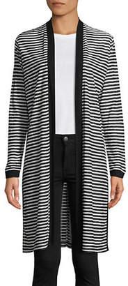 Jones New York Long Striped Open-Front Cardigan