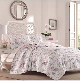 Laura Ashley Full/Queen Breezy Floral Pink Quilt Set Bedding