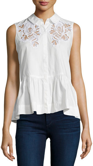 Rebecca Taylor Rebecca Taylor Embroidered Sleeveless Peplum Top