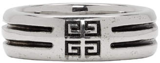 Givenchy Silver Double Row Band Ring