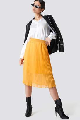 NA-KD Na Kd Pleated Midi Skirt Orange