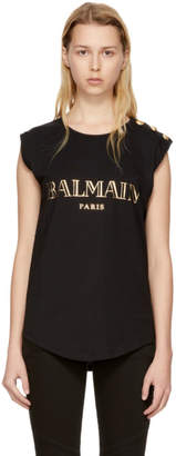 Balmain Black Sleeveless Logo T-Shirt