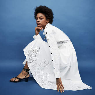 Maje Long shirt dress with broderie anglaise