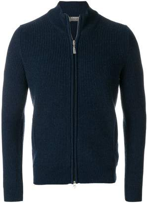 Barba rib knitted zip-up cardigan