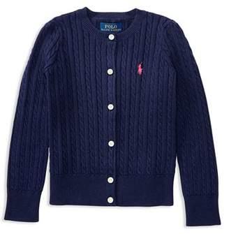 Ralph Lauren Girls' Cable-Knit Cardigan - Little Kid