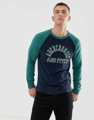 Abercrombie & Fitch tech plated logo long sleeve top in navy