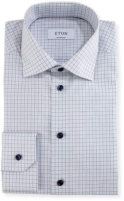 Eton Check Dress Shirt with Navy Buttons