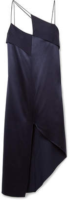 Dion Lee Asymmetric Crepe-paneled Silk-satin Midi Dress - Midnight blue