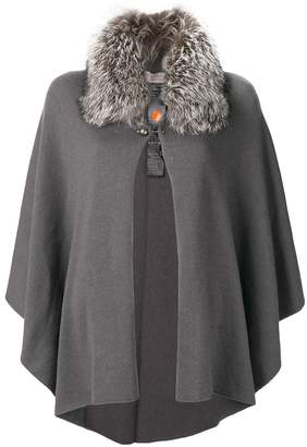 D-Exterior D.Exterior faux fur collar cape