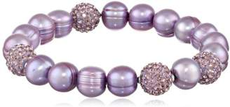 """Honora Pop Star"""" Freshwater Cultured Pearl and Pave Bead Stretch Bracelet"""