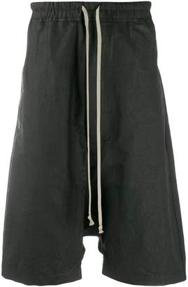 Rick Owens waxed linen drop crotch shorts