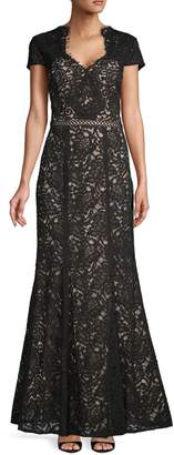 JS Collections Floral Lace Scalloped Gown